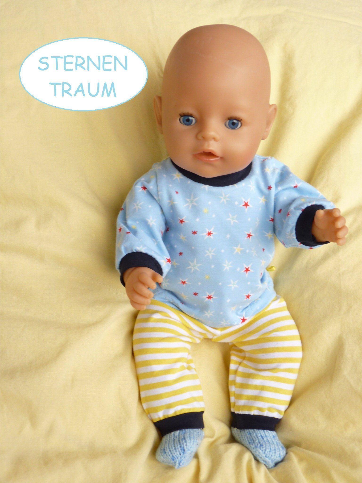 Puppenkleidung 43cm Z B Fur Babyborn Brother Gr 40 45cm 3tlg Set Junge Puppenschlafanzug Stricksocken Hellblau Sterne Streifen In 2020 Doll Clothes American Girl Doll Clothes Boys Pajamas