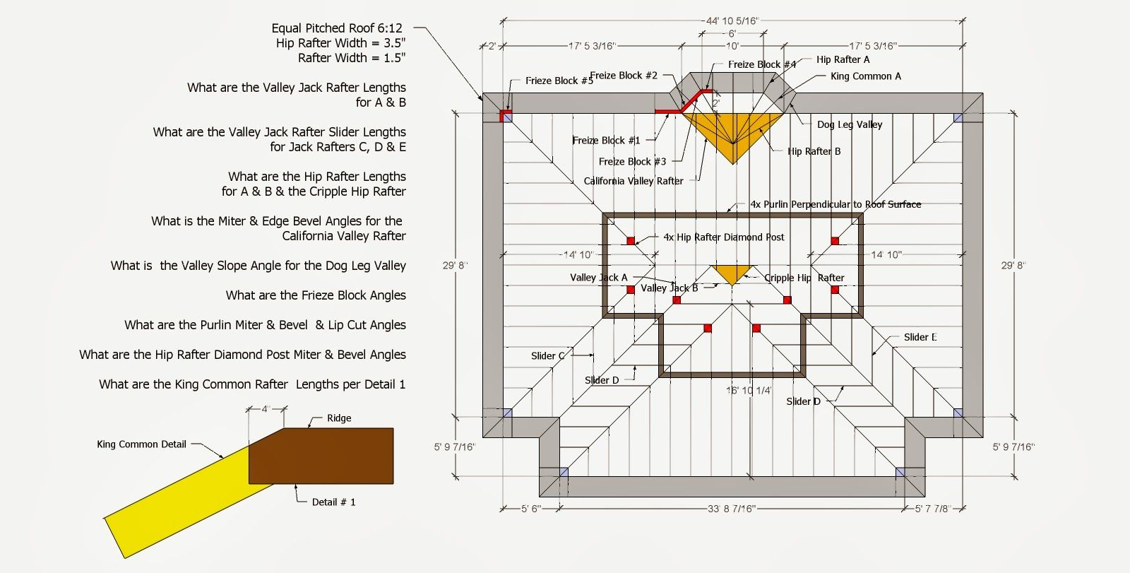 Roof Valley Construction Drawings roof framing geometry: hip ...
