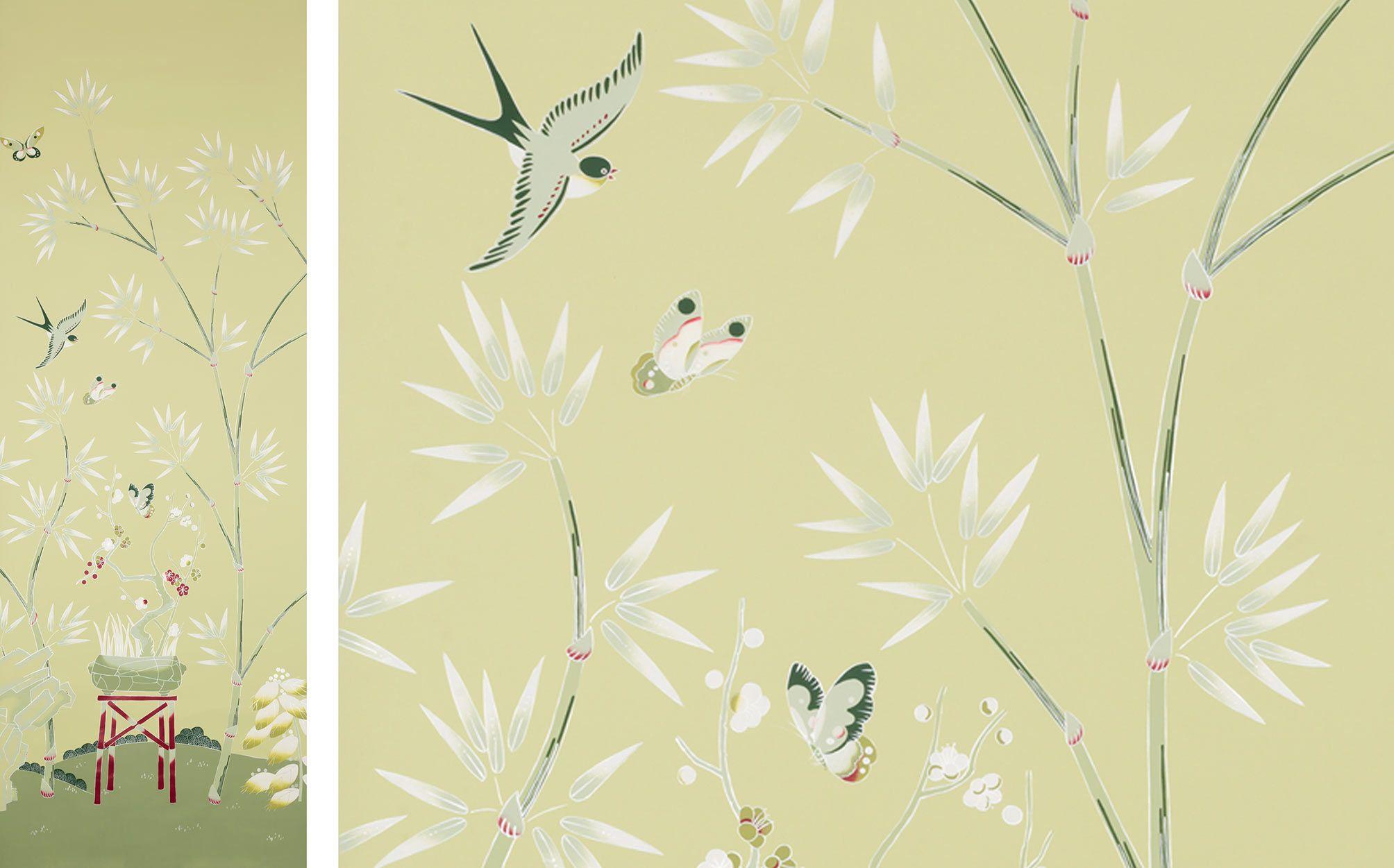 jardin au bamboo - 20th century, Handmade Wallpaper - Fromental ...