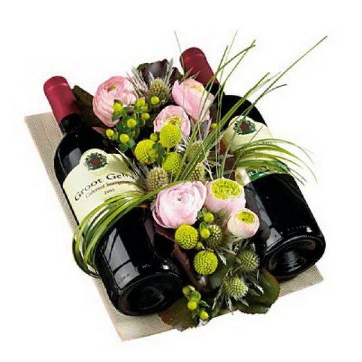 Flower Arrangements In Wine Bottles: Wine Bottle Gift, Flower