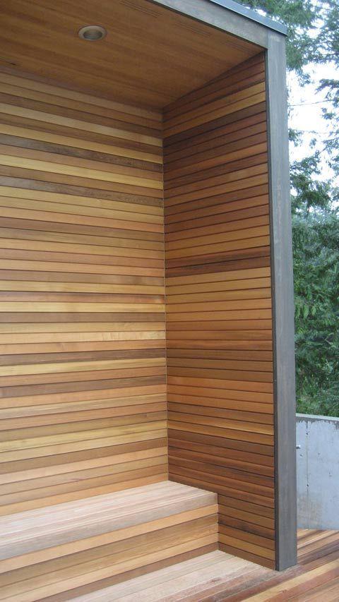 Modern Cedar Horizontal Wood Siding Home With Dark Shingles And Trim Wood Siding Wood Siding Exterior Vertical Wood Siding House Cladding