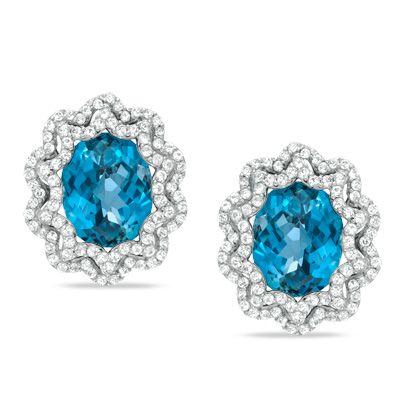 Exquisite London Blue Topaz Amp White Sapphire Stud Earrings