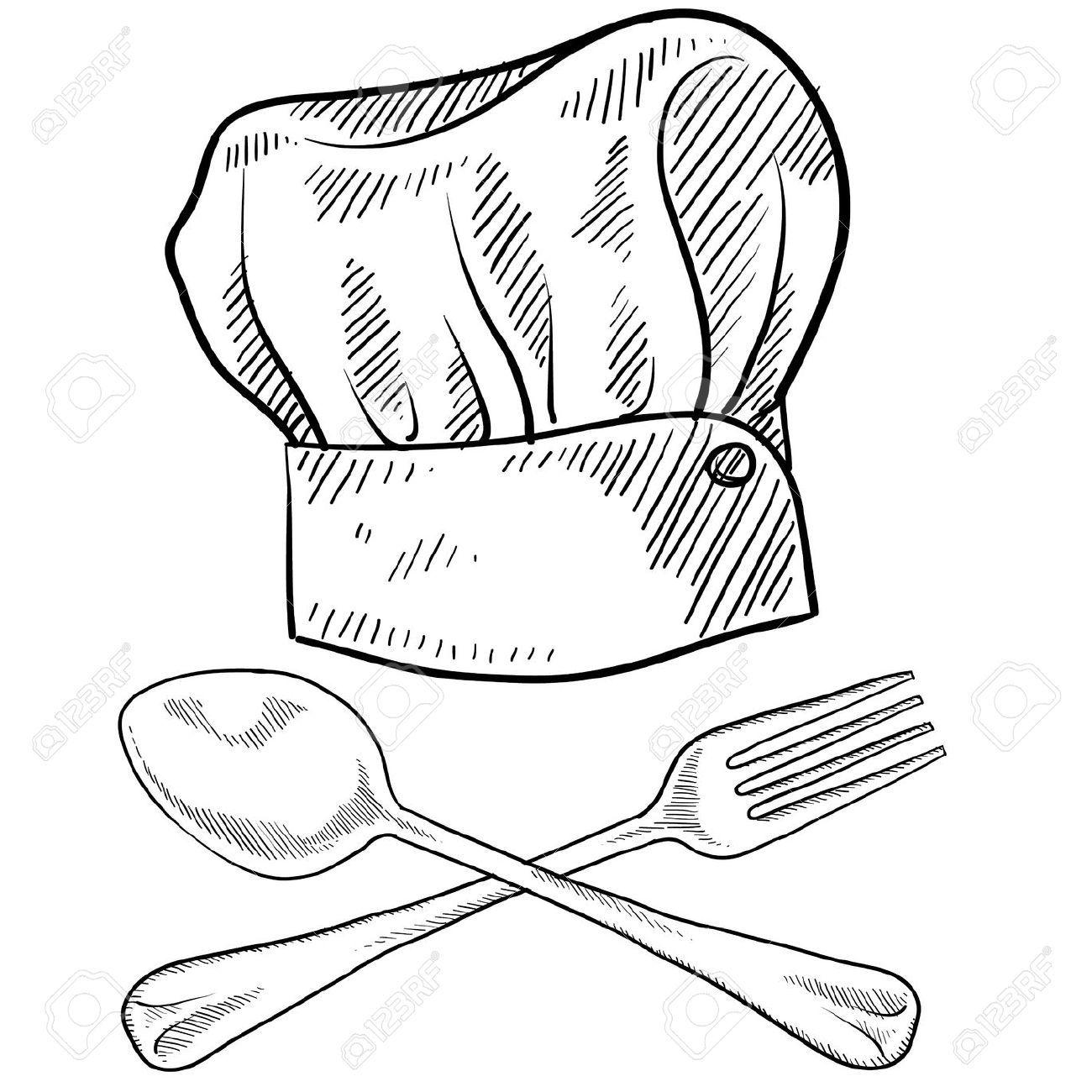 11670369 estilo doodle gorro de cocinero con un tenedor y for Utensilios para chef