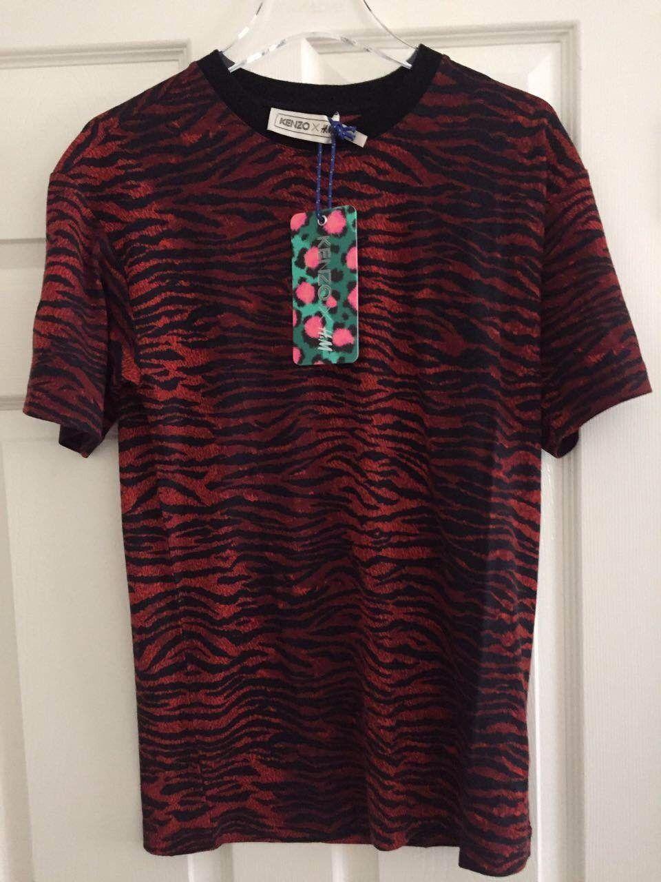 amp;m T Shirt Tiger Dark Small Kenzo Stripe Wool Red Mens H Jersey Nwt X jL54AR