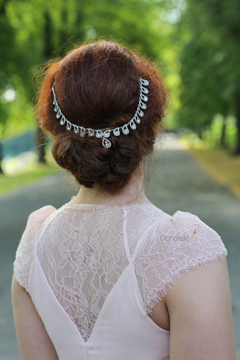 Art deco Hair Chain, Crystal head chain ,Wedding hair chain, Bridal head chain , Bridal back headpiece, 1920s Wedding hair accessory #hairchains