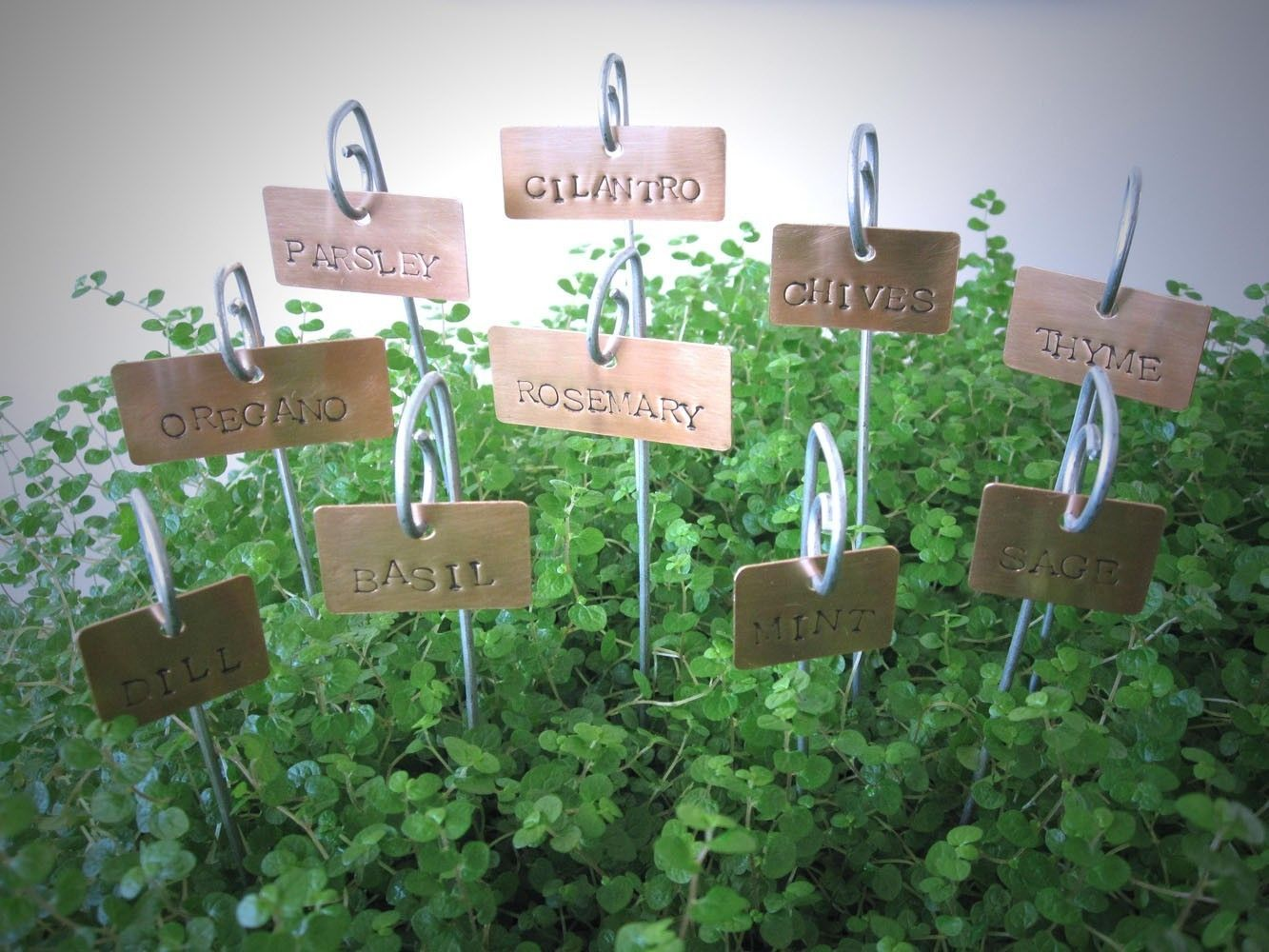 Copper Plant Tags   Garden Herb Plant Markers Labels With Stakes   Set .