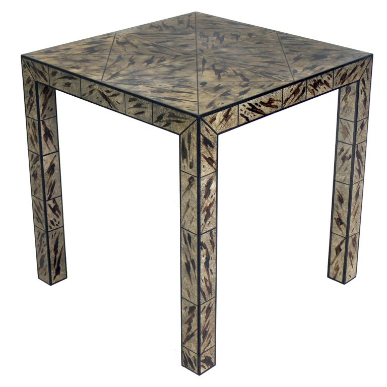 Faux Tortoise Shell Parsons Side Table