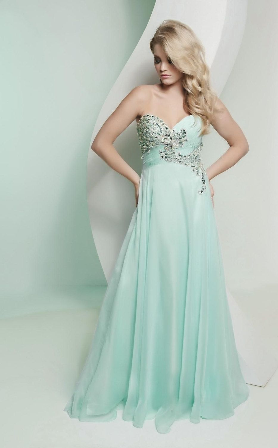 Etsy strapless shimmer mint bridesmaid dresses