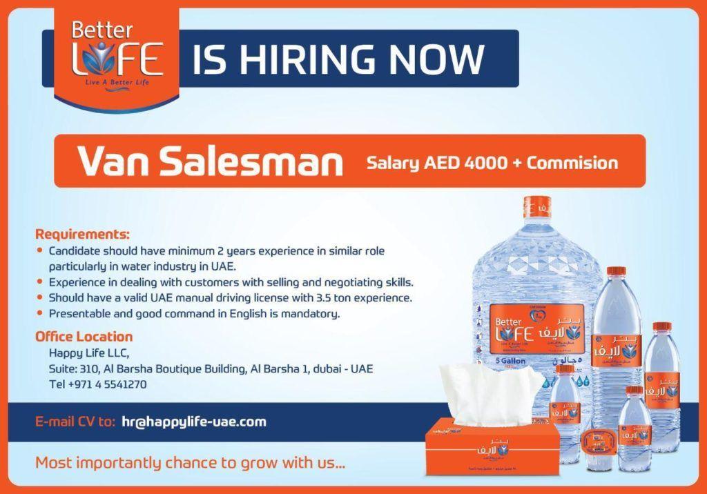 Van Sales Man UAE Openings Van for sale, Job opening, Man