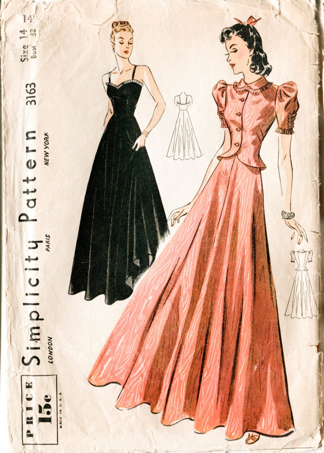 1930s sewing pattern evening gown long dress vintage prom dance 1930s sewing pattern evening gown long dress vintage prom dance frock jeuxipadfo Choice Image