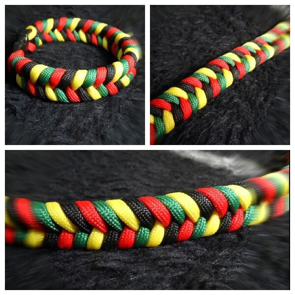 Rasta 4 Color Combo Fishtail 550 Paracord Bracelet Paracord