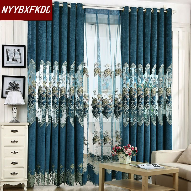 Home D Cor On A Budget European Style Elegant Curtains Living Room Furnishings Embroidered Luxury Cord And Tulle Nov 11