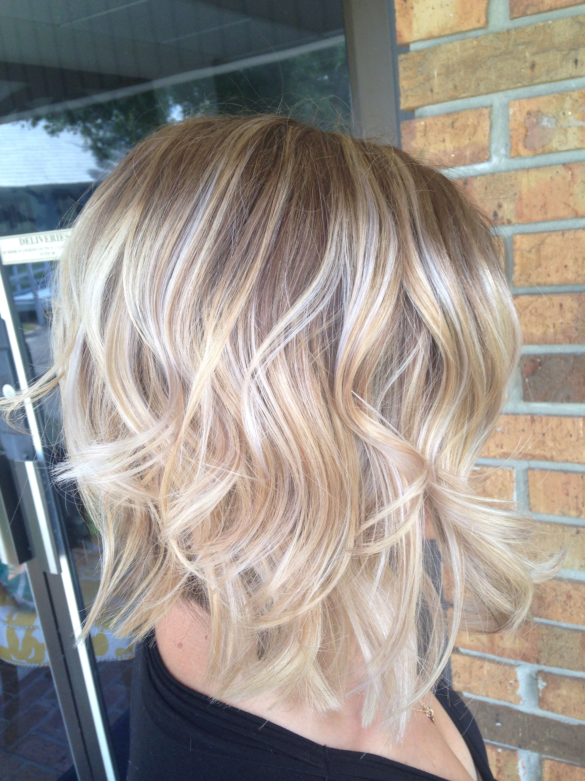 Nice light blonde highlights on brown delicate regrowth hair