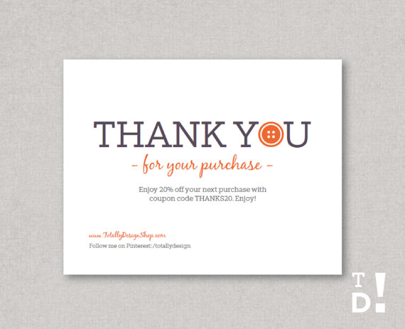 Customizable Thank you for your purchase card by totallydesign – Business Thank You Card Template