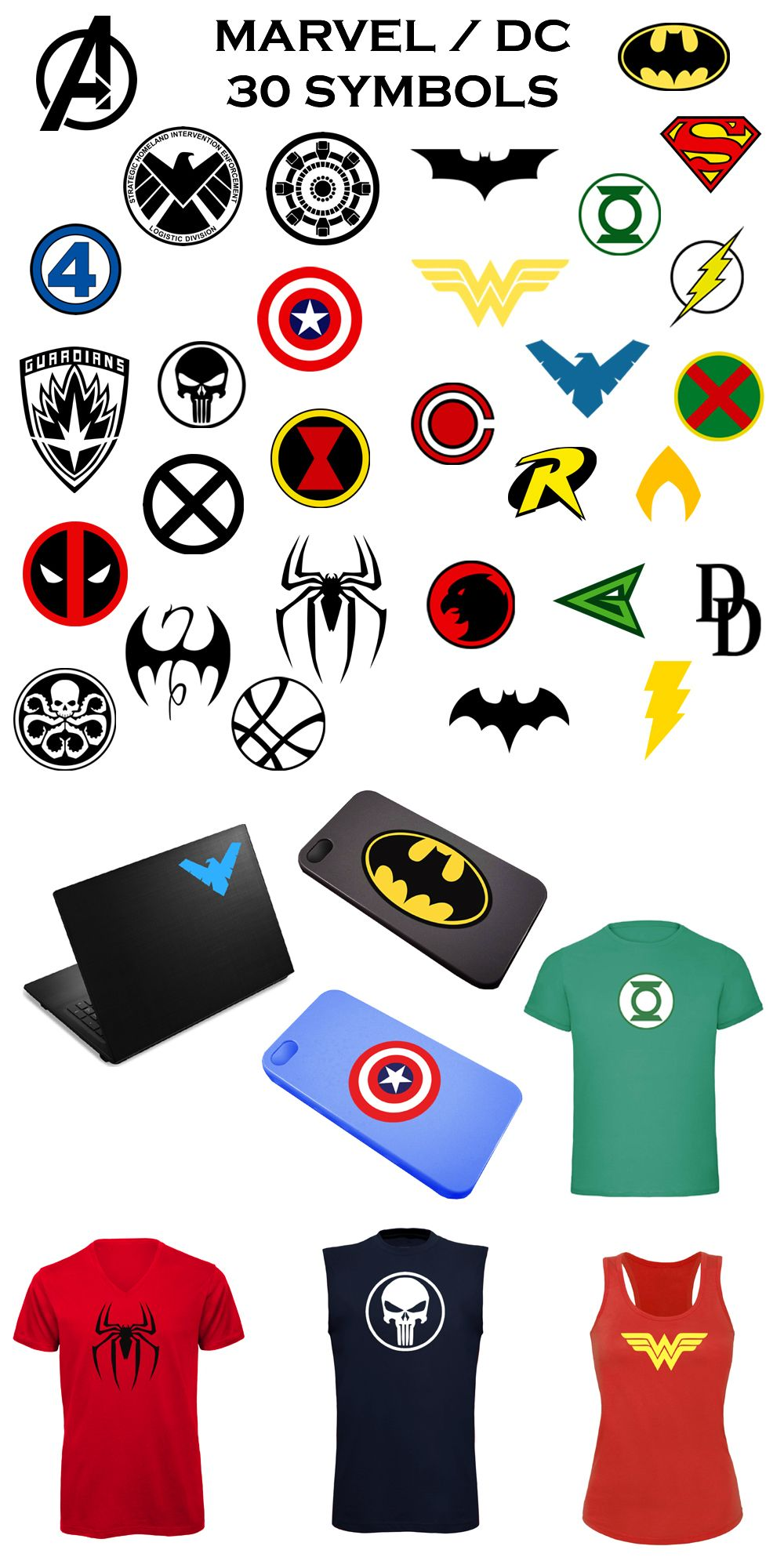Marvel and dc symbols for your home decorations clothes cosplay