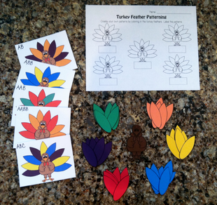 As this activity shows, colorful turkey feathers offer a great opportunity for patterning practice with your preschoolers and kinders this Thanksgiving!    While you felt and foam make great...
