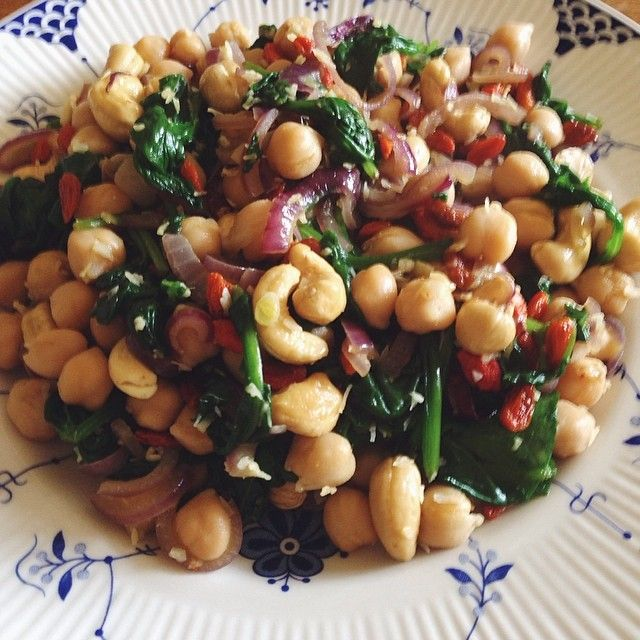 Lunch today was chickpeas, spinach, onions fried in coconut oil, desiccated coconut, cashews, and goji berries.