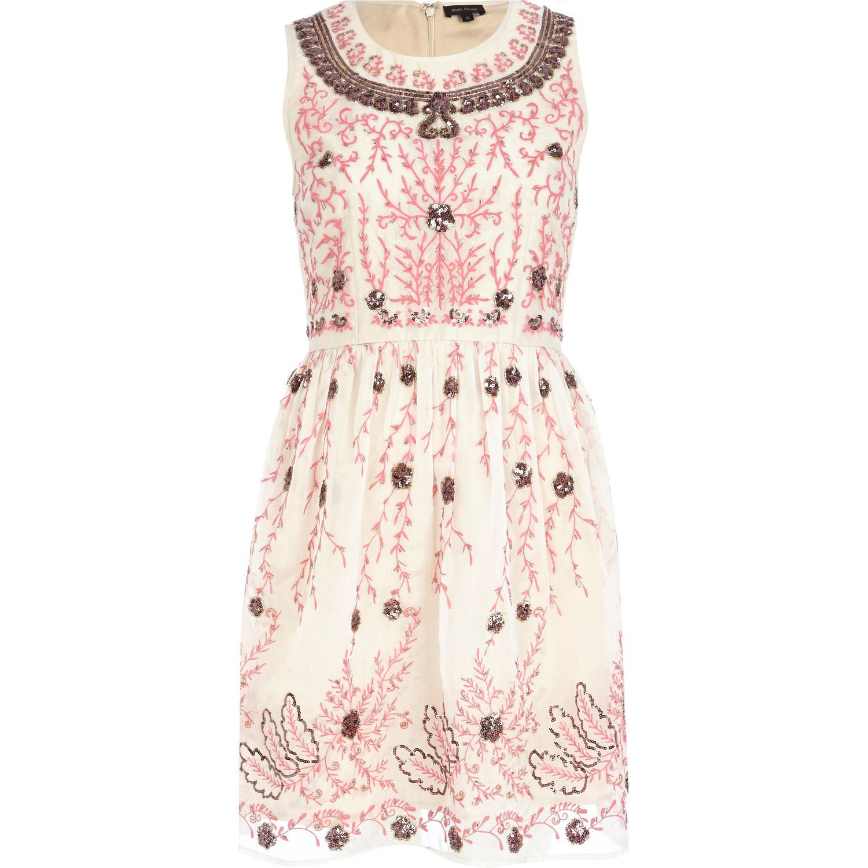 White lace apron ebay - River Island Pink Floral Embellished Prom Wedding Dress Uk 10 Eu 36 Bnwt Rrp 100