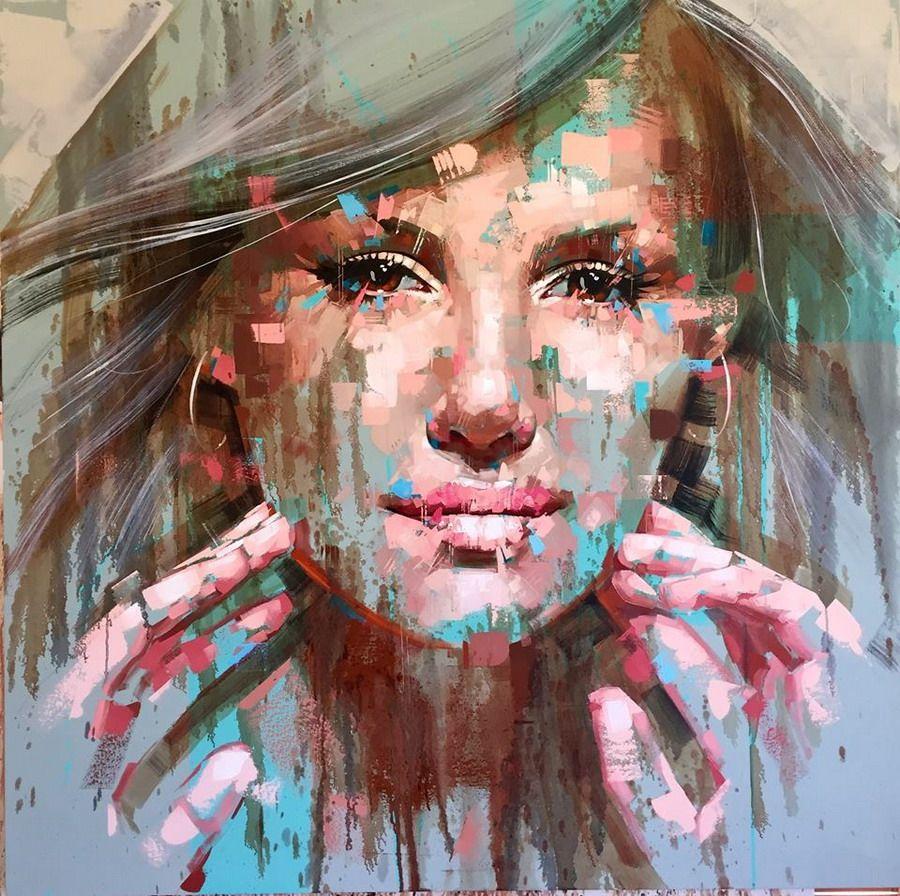 Hombres y mujeres jovenes rostros pintura moderna - Cuadros pintura acrilica moderna ...