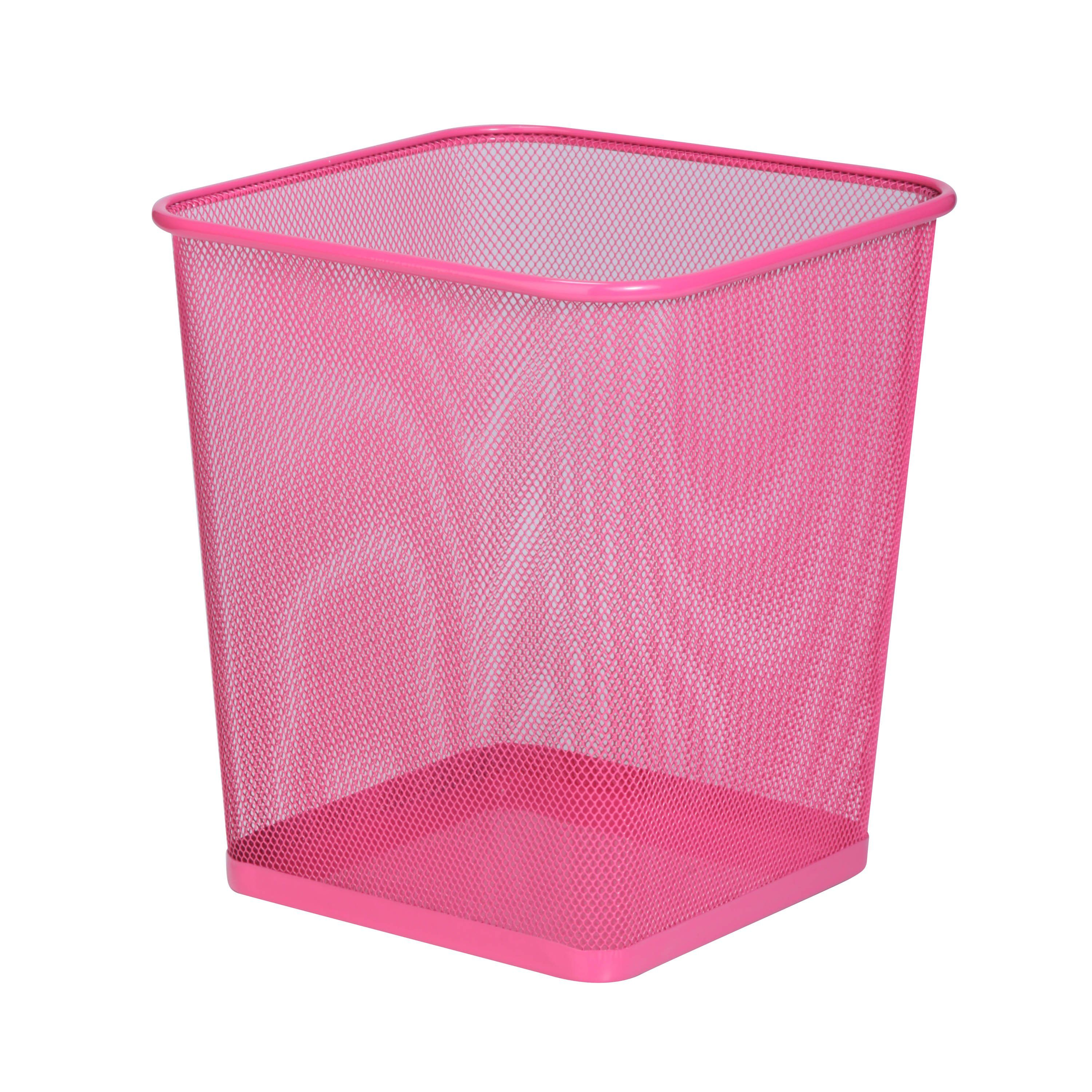 Dimensions: 10.5'' L x 10.5'' W x 12'' H TRS-05085 This steel trash can combines modern styling and sturdy construction. It's the perfect size for bathrooms, dorms, and offices and works well with or without commonly available trash bags. The solid metal base keeps potential liquid spills contained. Create a contemporary, polished look with a trash can designed to last for years.