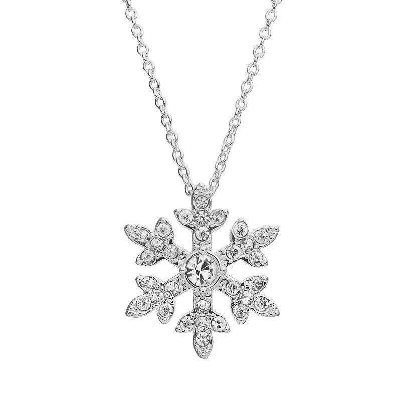 Disney's Frozen Crystal Snowflake Pendant Necklace, Women's, Grey