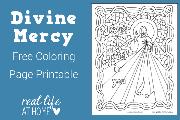 Need a coloring page for Divine Mercy Sunday or any time when talking about the Divine Mercy? This Divine Mercy coloring page printable is a free download!