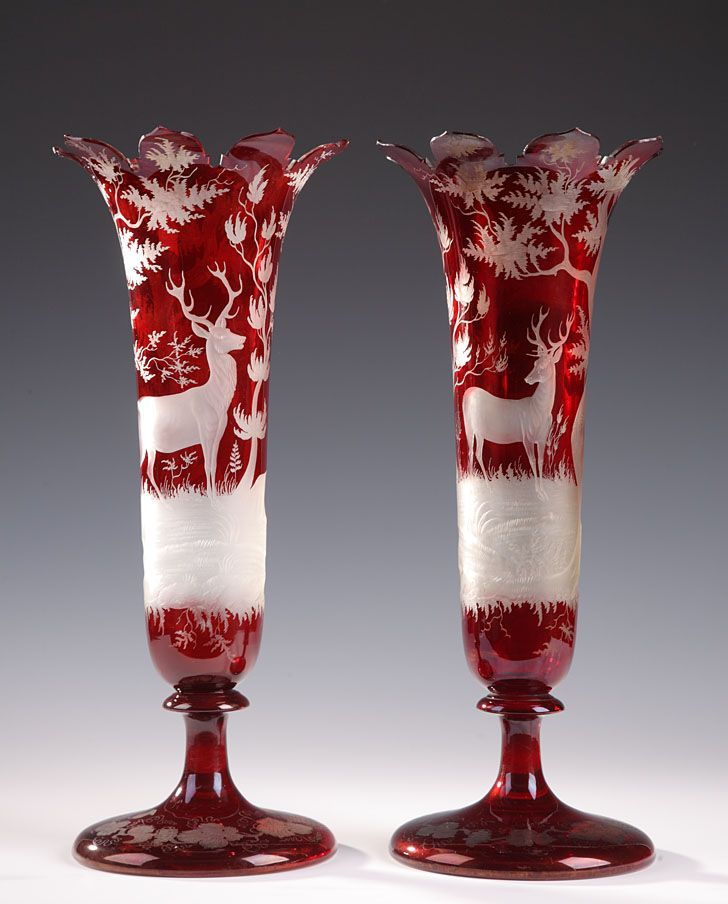 19th Century Pair Of Bohemian Red Crystal Vases With Deer Antiques