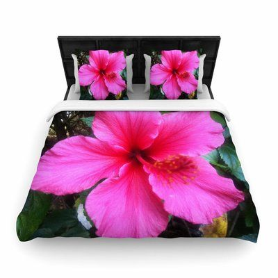 East Urban Home NL Designs Tropical Hibiscus Floral Woven Duvet Cover Size: Full/Queen