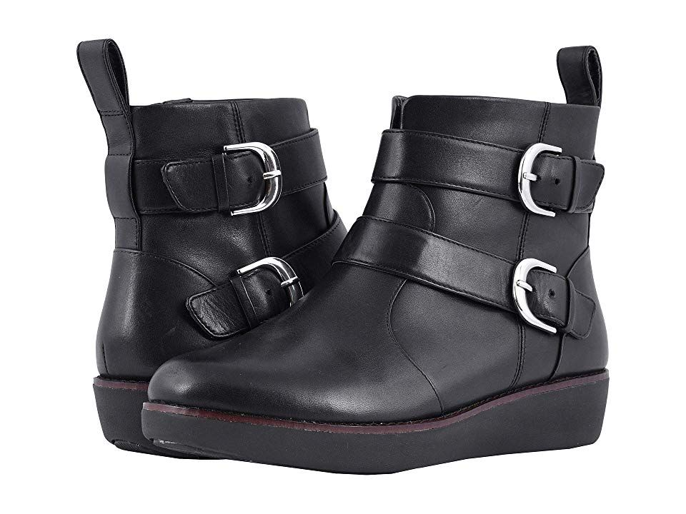 63ad413520ee6e FitFlop Laila Double Buckle Women s Boots Black