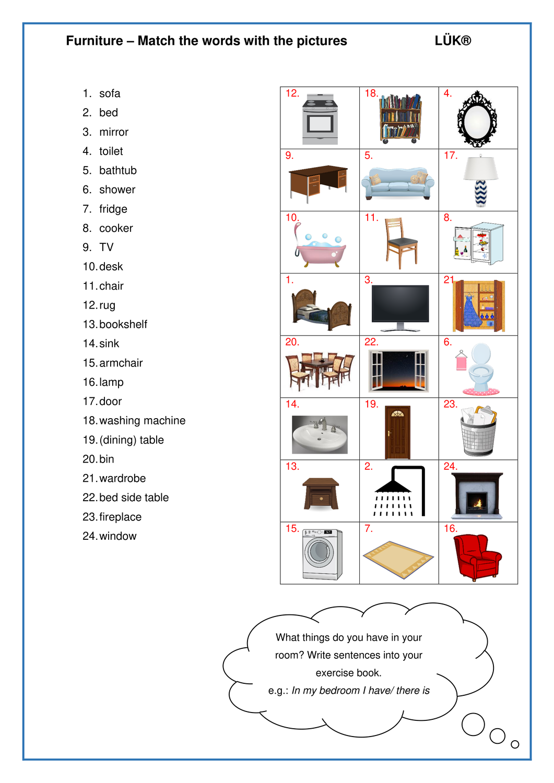 Furniture LÜK®   Übungsmaterial, Lernen, Englischunterricht