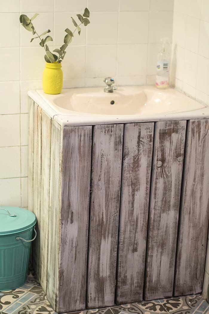 Decoraci n con palets encastramos un lavabo con pie for Confeccionamos muebles de bano en palet