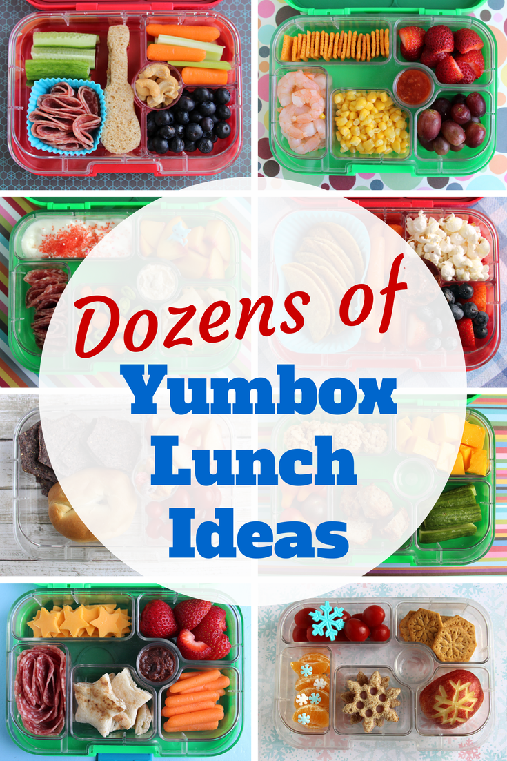 dozens of photos of kids' lunches packed in yumbox bento boxes. by
