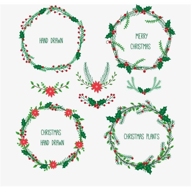 Merry Christmas Wreath Collection Free Vector For