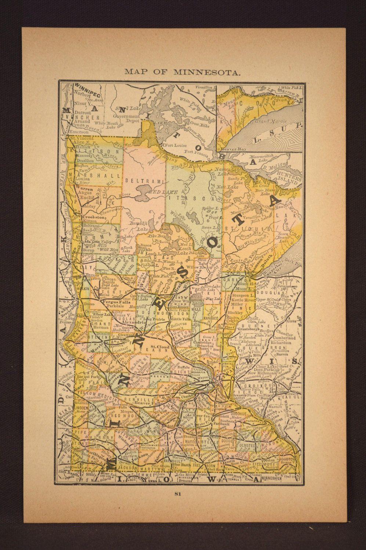 Minnesota Map Minnesota Antique Original Late 1800s | Map Wall Decor ...