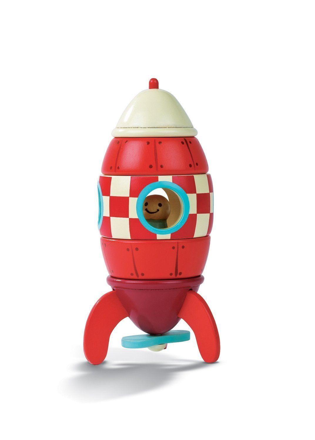 """This is an adorable 5 piece magnetic rocket """"puzzle."""" Perfect for children aged 18 months and up, children can put this simple magnetic toy together and play with the rocketship."""