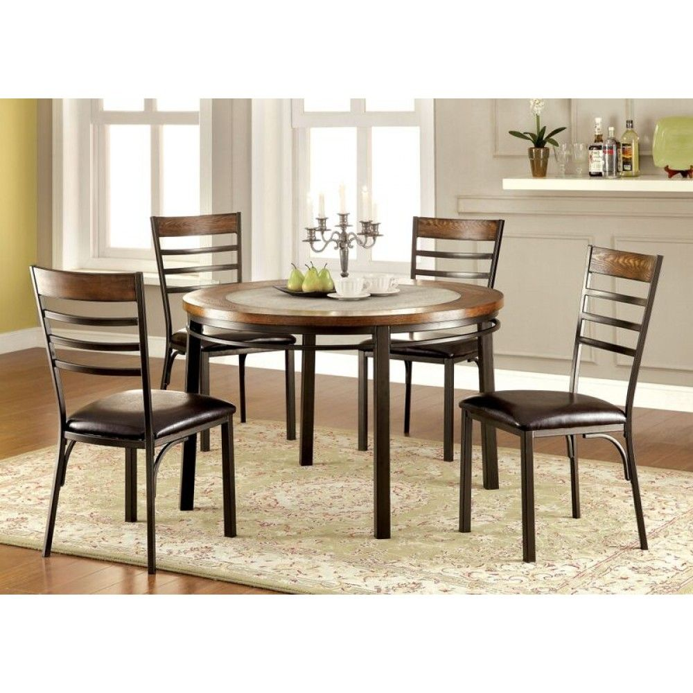 Furniture of America Hailey Round Dining Table Set with Stone in Bronze Finish