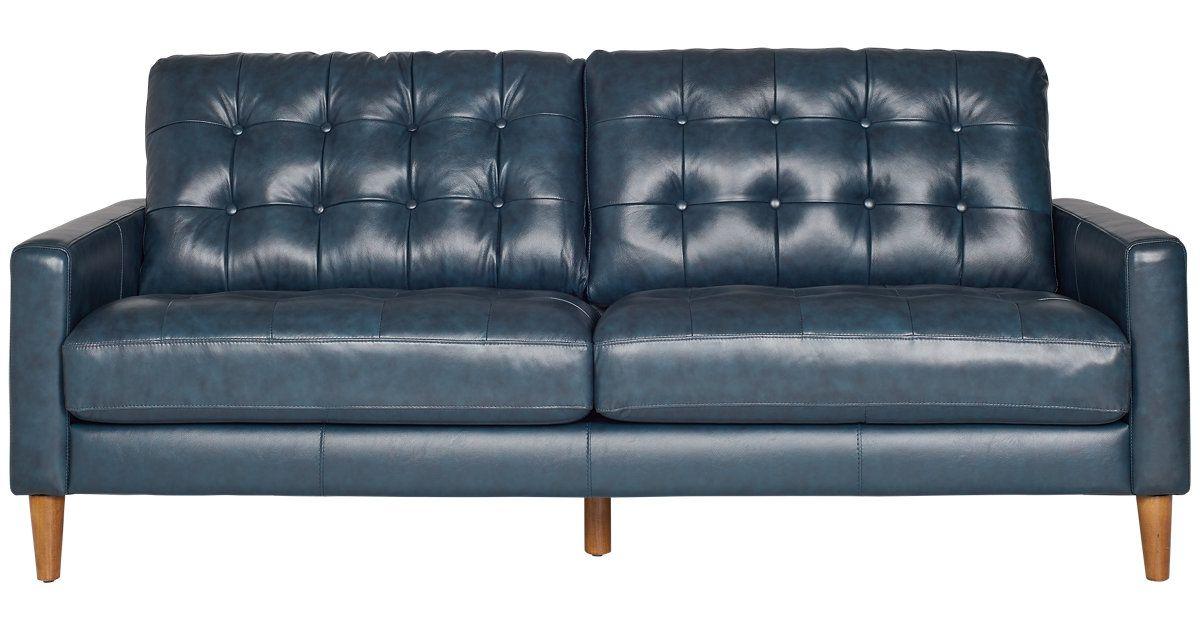 finley dark blue leather vinyl sofa in 2018 living room living rh pinterest com