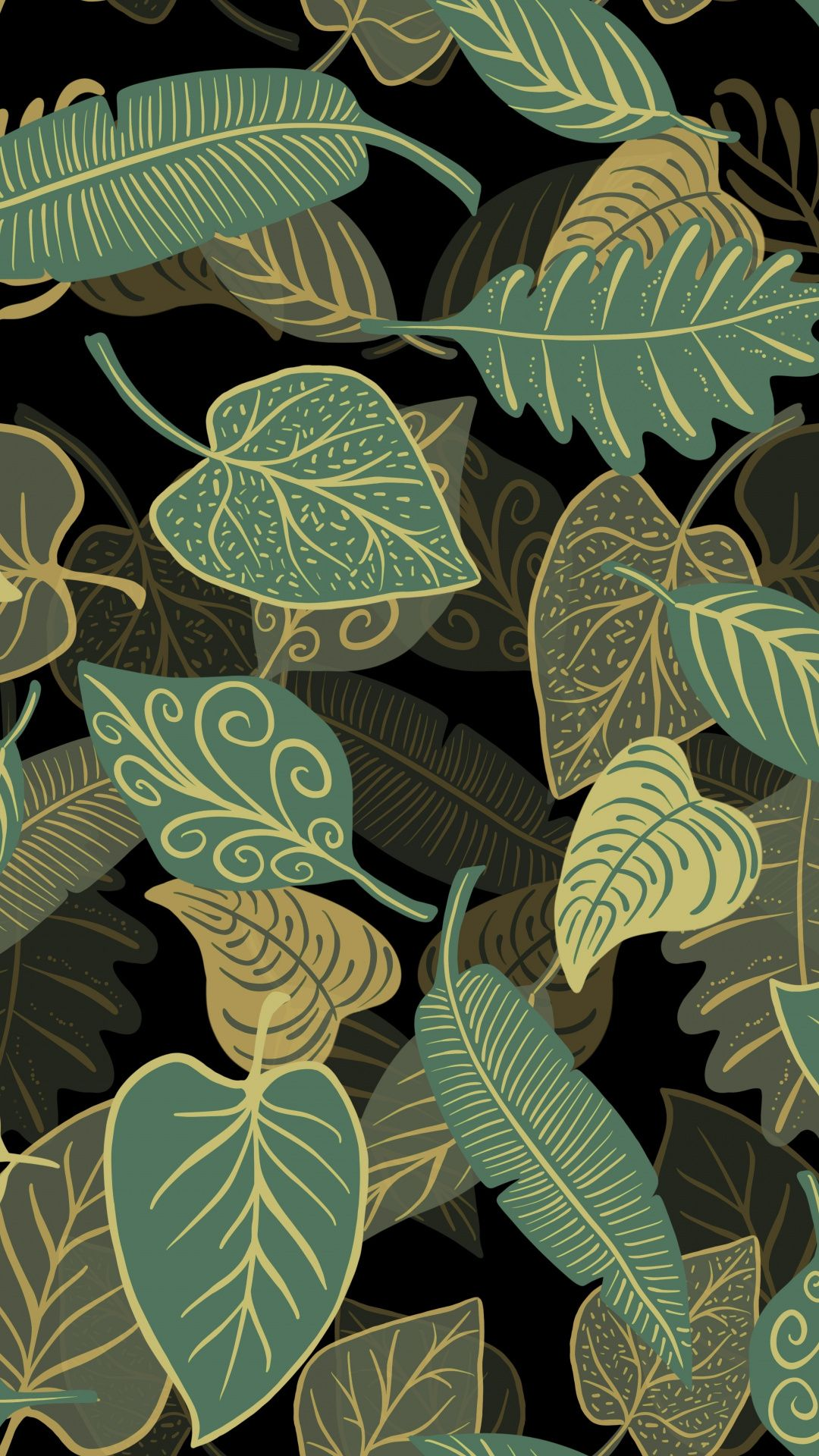 Green leaves abstract illustration 1080x1920 wallpaper
