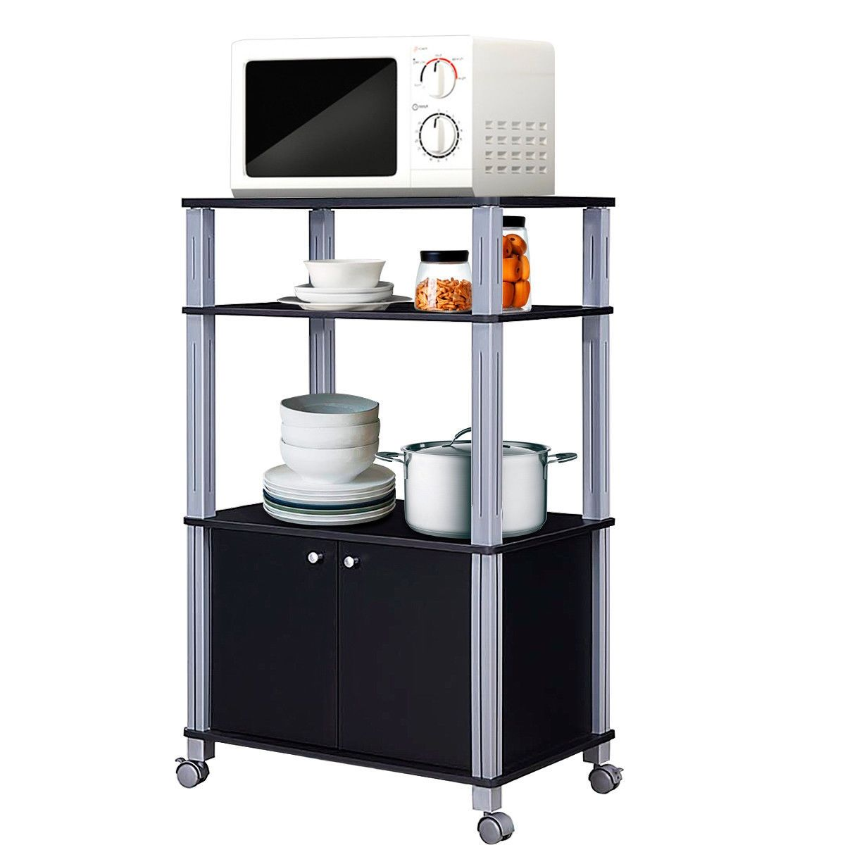 Bakers Rack Microwave Stand Rolling Storage Cart Black In 2020