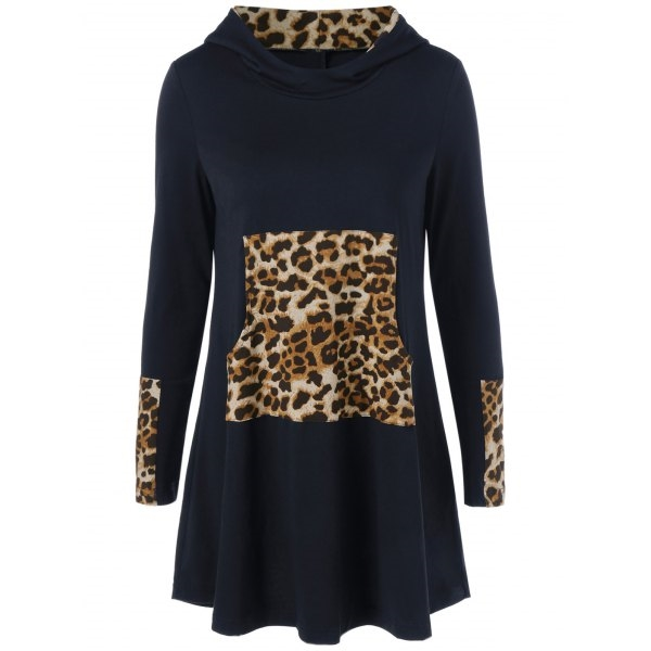 18.6$  Watch now - http://di1m9.justgood.pw/go.php?t=198355603 - Leopard Kangaroo Pocket Hooded Dress