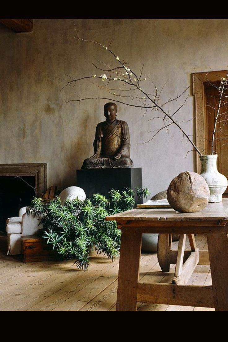 great zen inspired furniture. An Elegant Zen Styled Living Room With Rustic Wood Furniture, Sculpture And Plants Great Inspired Furniture