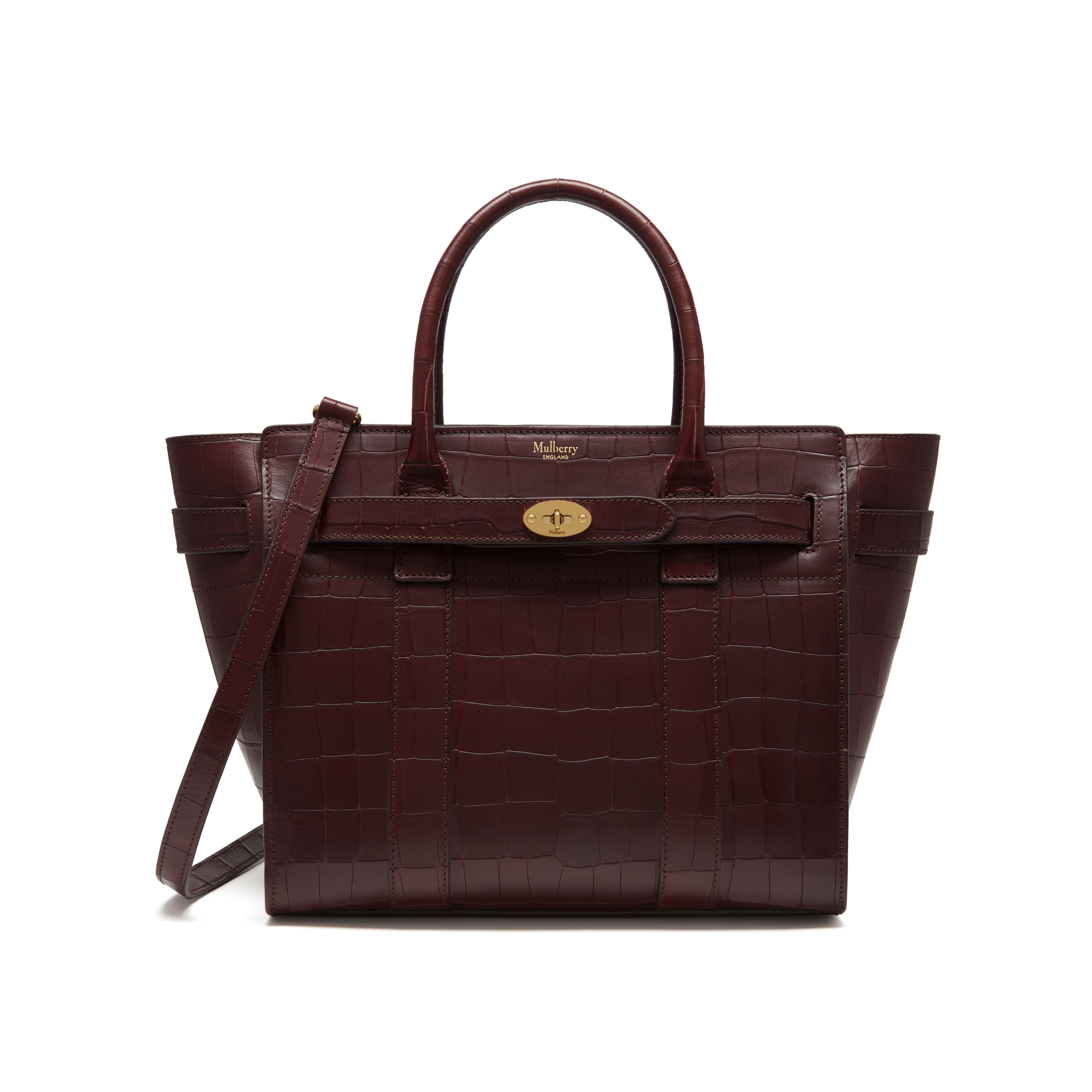 Mulberry - Small Zipped Bayswater in Oxblood Deep Embossed Croc Print