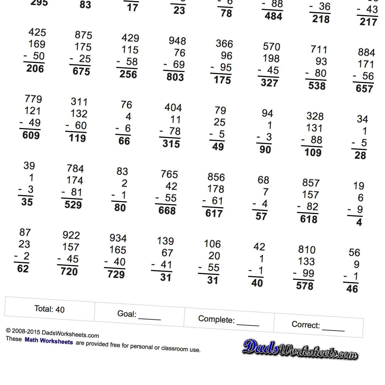 Math Worksheets Three Argument Subtraction Subtraction Worksheets Math Worksheets Worksheets [ 1440 x 1440 Pixel ]