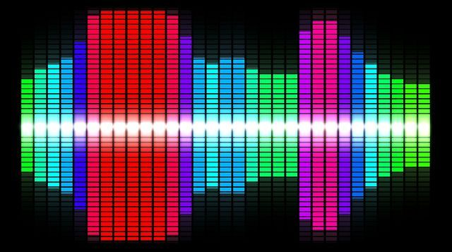 This is four different downloadable videos of an audio wave form equalizer. All five videos are the classic bar meter equalizer reading used to measure audio which most of them are in a rainbow type form.