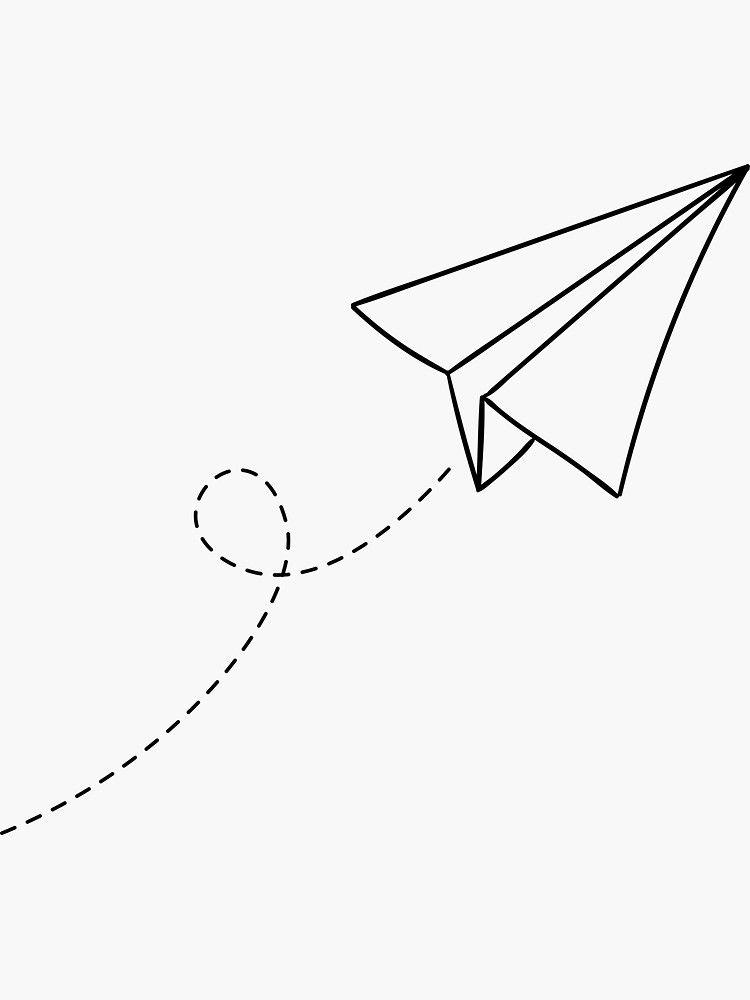 Paper Plane Flying Simple Minimalist Illustration Cartoon