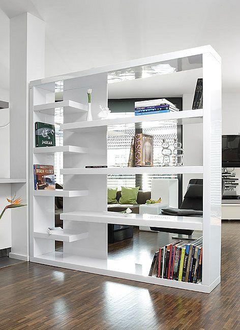 SalesFever Regal   Raumteiler weiß Hochglanz »Mountain - wohnzimmer weiß hochglanz