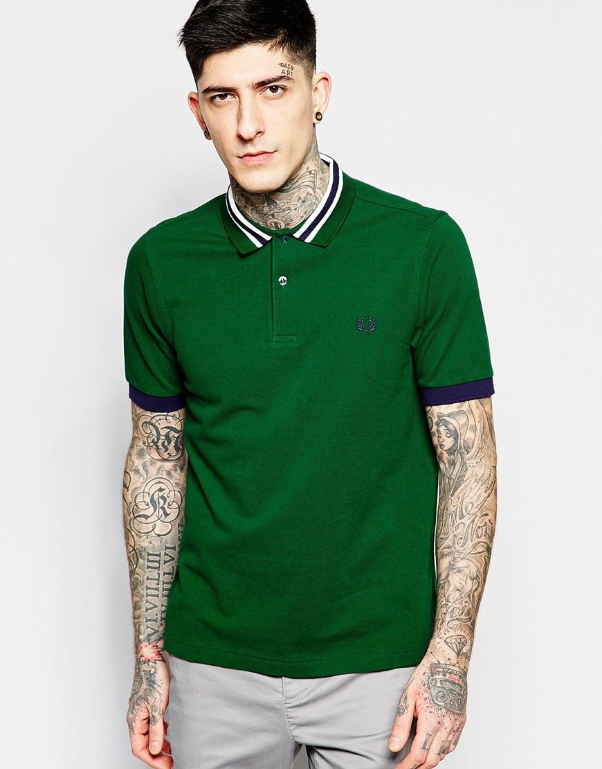 b79a20c4 Fred Perry Polo Shirt with Bomber Collar Stripe Slim Fit | stripes ...
