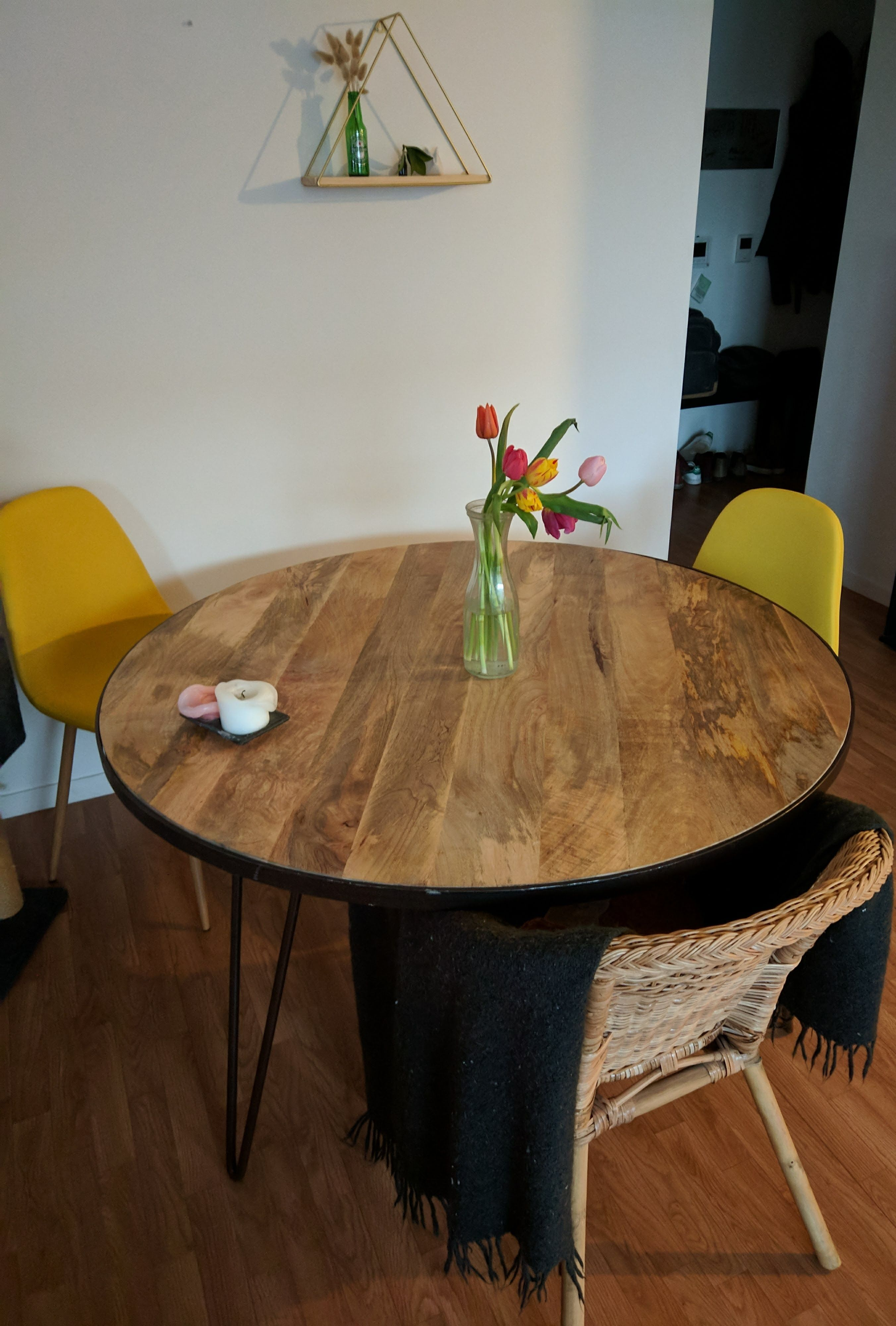 Table A Manger Ronde Industrielle Bois Metal Atelier Miliboo Metal Round Dining Table Metal Dining Table Dining Table