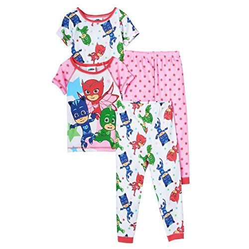 PJ MASKS Toddler Girls Owlette, Catboy U0026 Gekko 4 Piece Pajama Set, Size