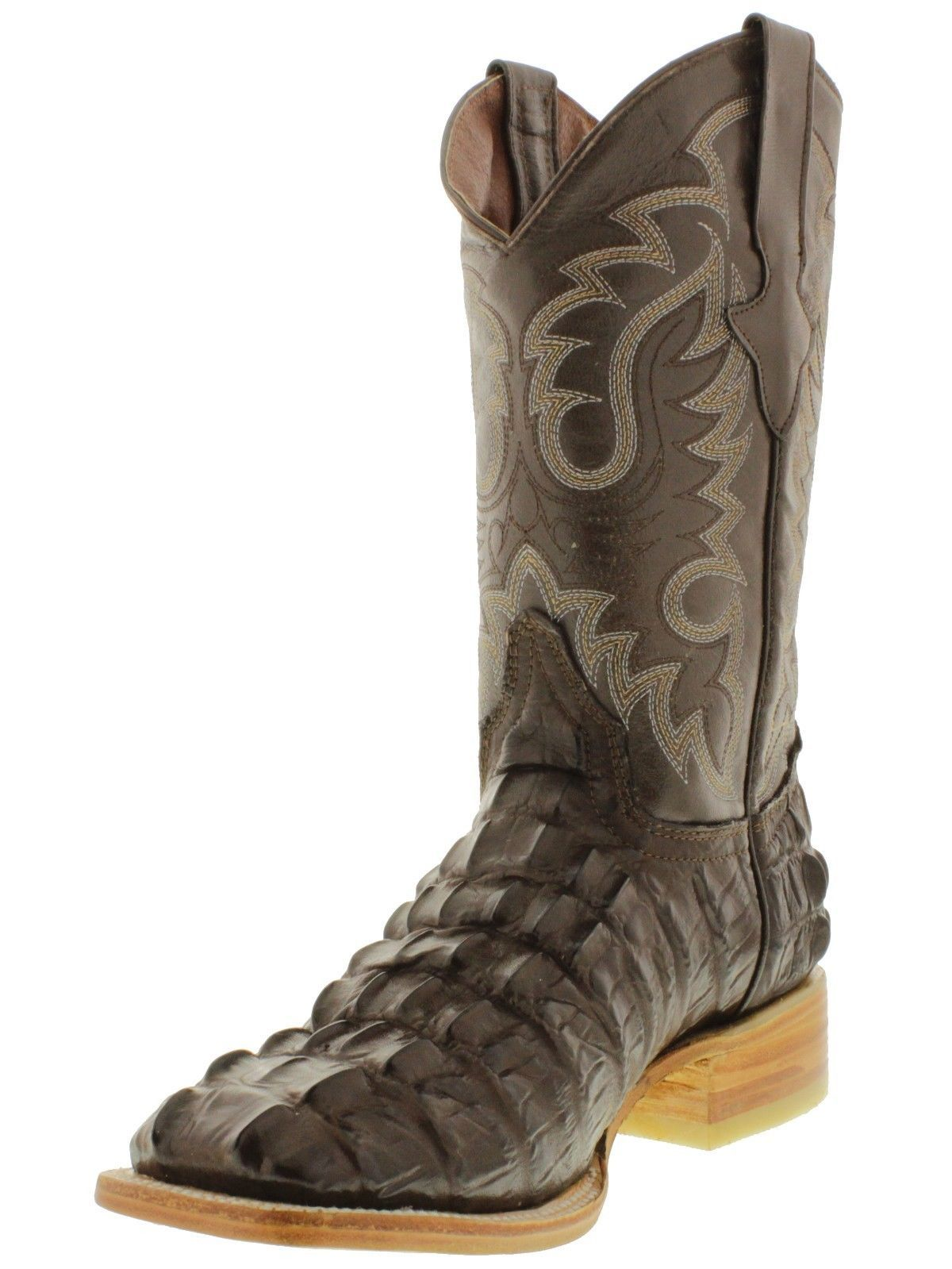 d0d4aaaab934 Men s brown square toe cowboy boots crocodile alligator tail western rodeo  work